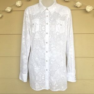 Ariat White Paisley Floral Sheer Snap Button Down